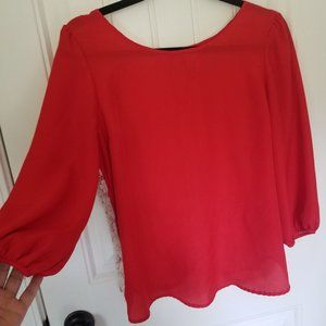 LC Lace Back Red Blouse